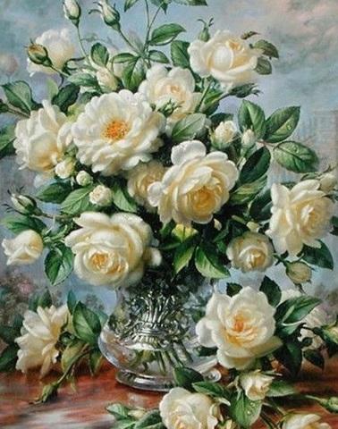 Картина раскраска по номерам 40x50 Белые розы в серебряной вазе (Без подрамника)