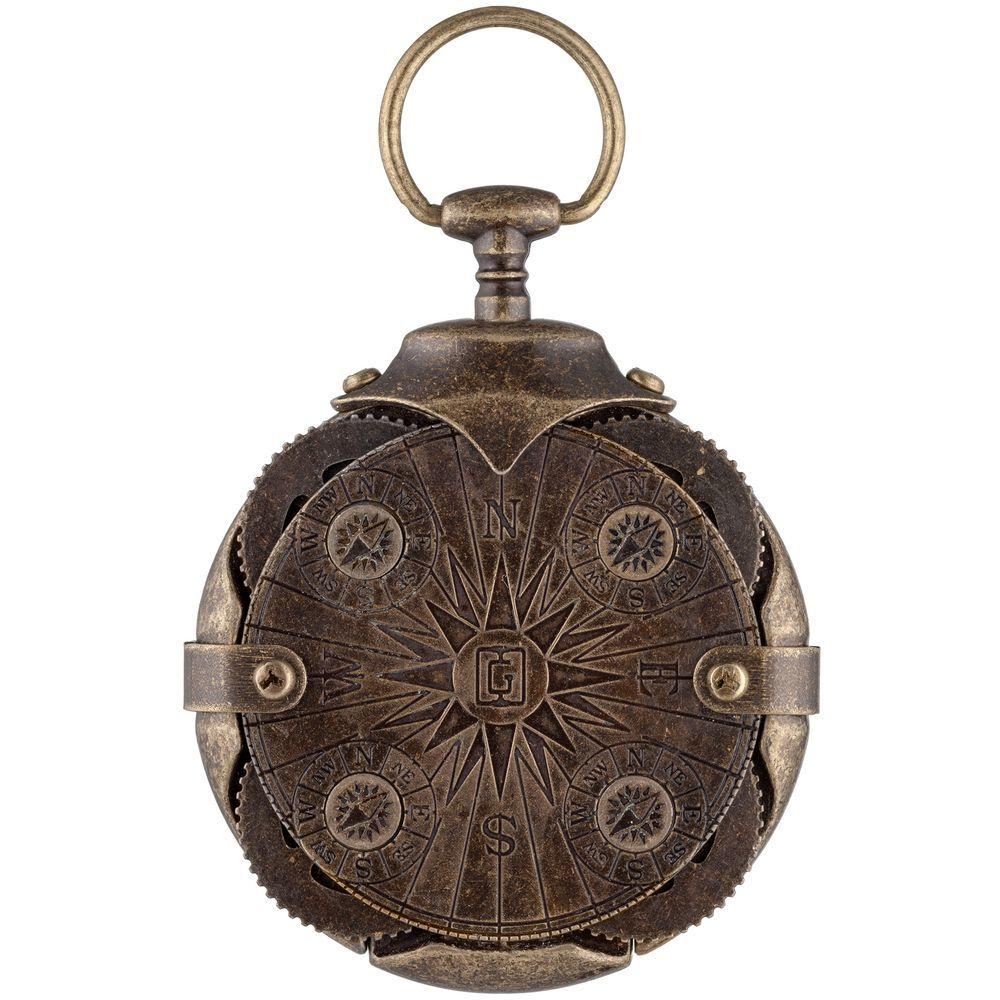 Cryptex Round Lock Compass, Antique gold USB flash drive