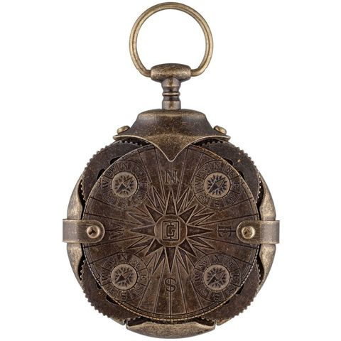 Cryptex Round Lock Compass, Antique gold USB flash drive