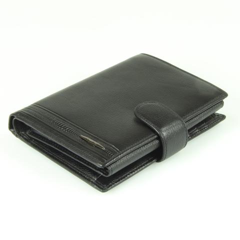 Стильное мужское чёрное портмоне книжка 14х10 см с отделением для авто документов из натуральной кожи яка Dublecity M100-DC11-07A в подарочной коробке