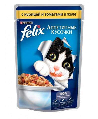 Felix кусочки в желе для кошек с курицей и томатами 85 г