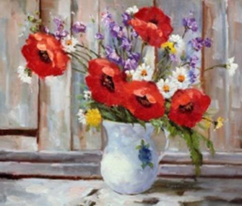 Картина раскраска по номерам 40x50 Букет полевых цветов в белом кувшине