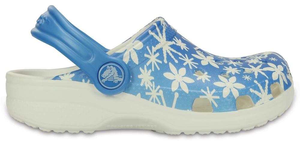 Детские сабо CROCS Classic Snowflake Clog K Ice Blue