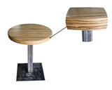 Стол круглый на металлическом подстолье, столешница МДФ Зебрано