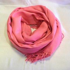 Кашемировый однотонный розовый палантин (16)