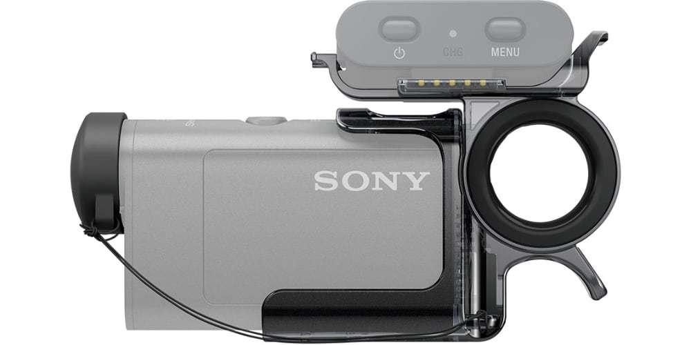 Упор для пальцев Sony (AKA-FGP1) вид сбоку с камерой