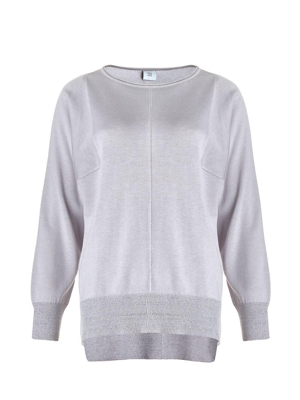 Светло-серый джемпер из шёлка и кашемира, с квадратной линией проймы - фото 1