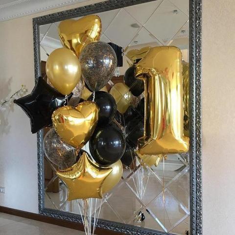Фонтан из шаров с цифрой Золотой в черном