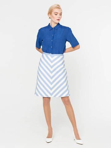 Фото повседневная голубая юбка а-силуэта в полоску на пуговицах - Юбка Б075-577 (1)
