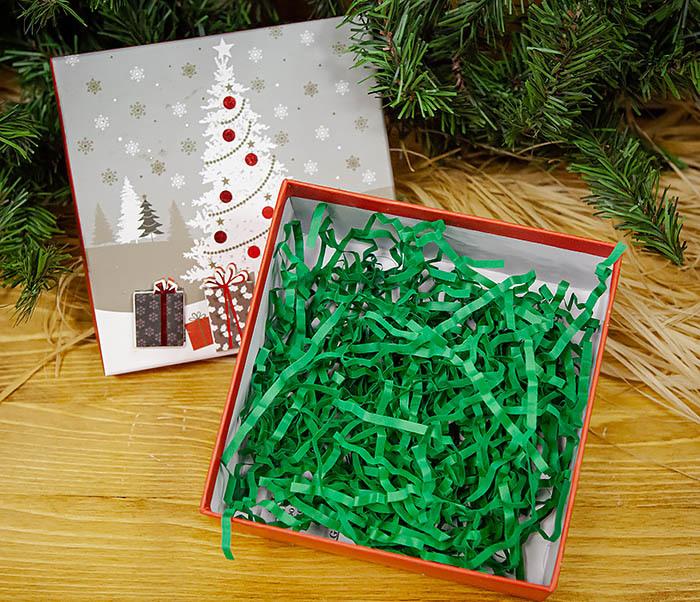 BOX262-2 Красочная коробка для подарков с наряженной елкой (18*18*8 см) фото 04