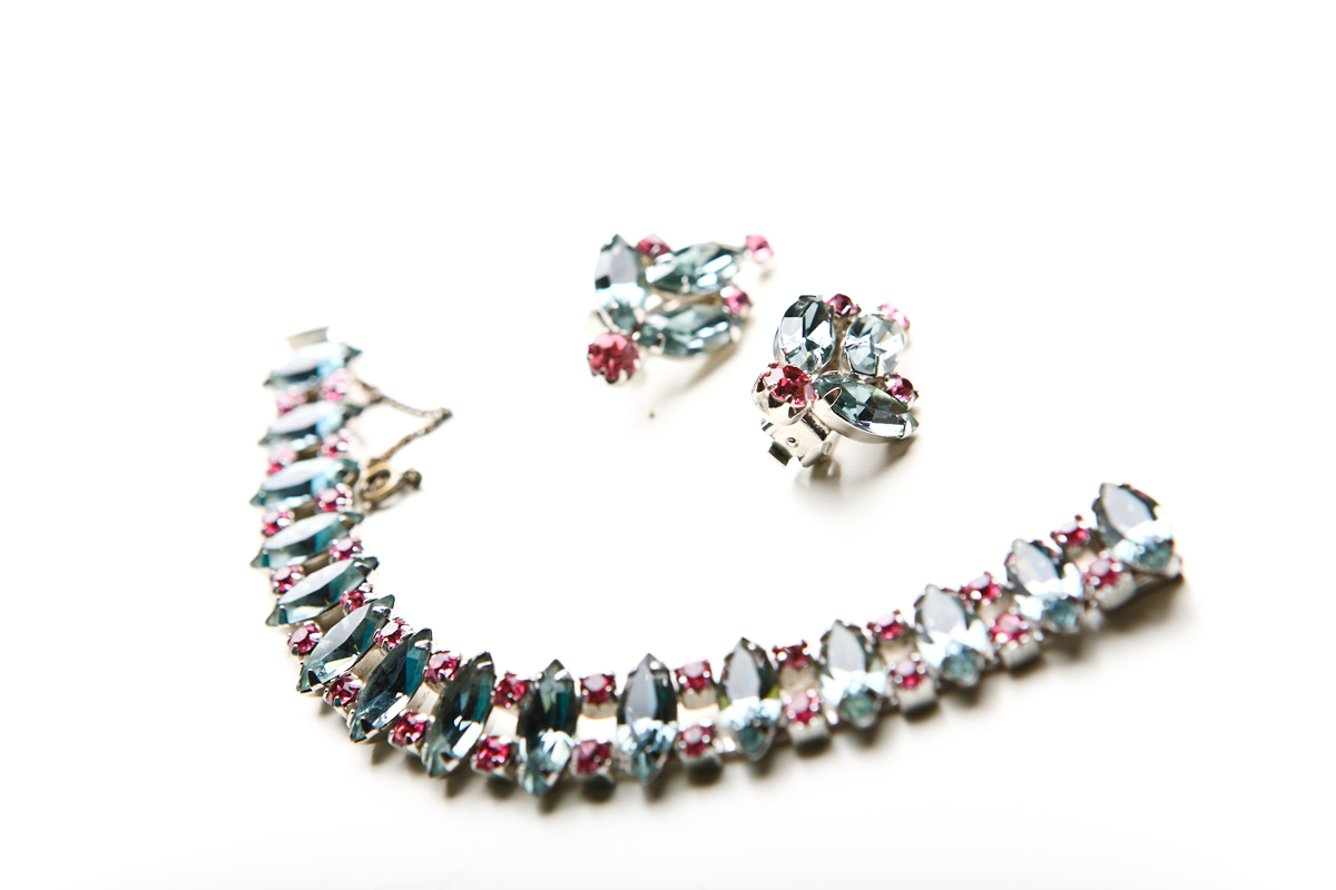 Beautiful bracelet and earclips with pink and gray crystals by Weiss