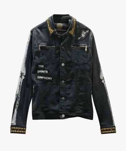 Куртка джинсовая The Saints Sinphony BONES JACKET BLACK AND GOLD