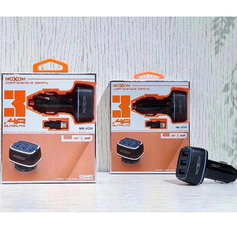 АЗУ Комплект Moxom MX-VC01 с кабелем microUSB, 3xUSB, 3.4A, black