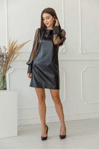 Платье с экокожи
