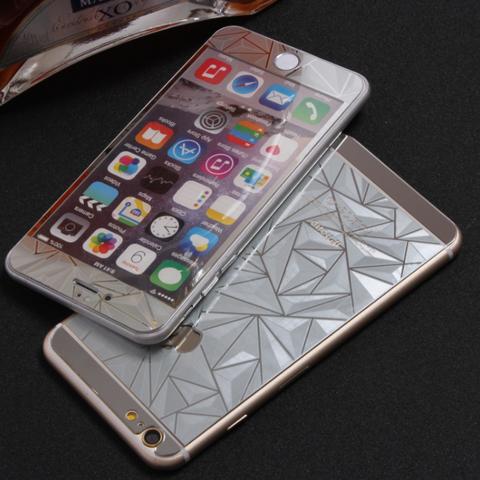 Защитное двухстороннее стекло Алмаз 2в1 для iPhone 6 Plus, 6s Plus (Серебристое)