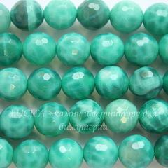 Бусина Агат Огненный (тониров), шарик с огранкой, цвет - зеленый, 8 мм, нить