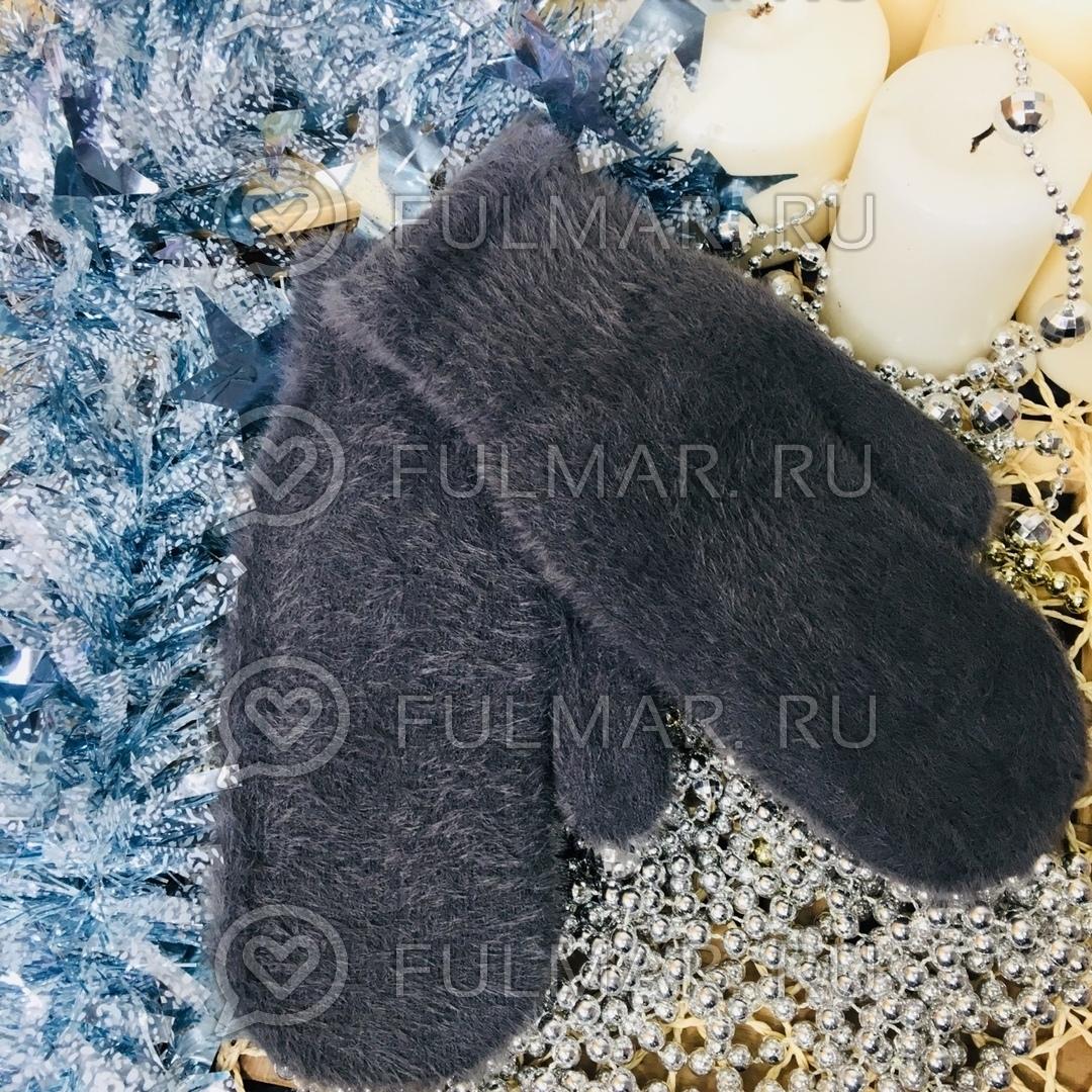 Варежки женские зимние пушистые (цвет: Асфальтовый) фото