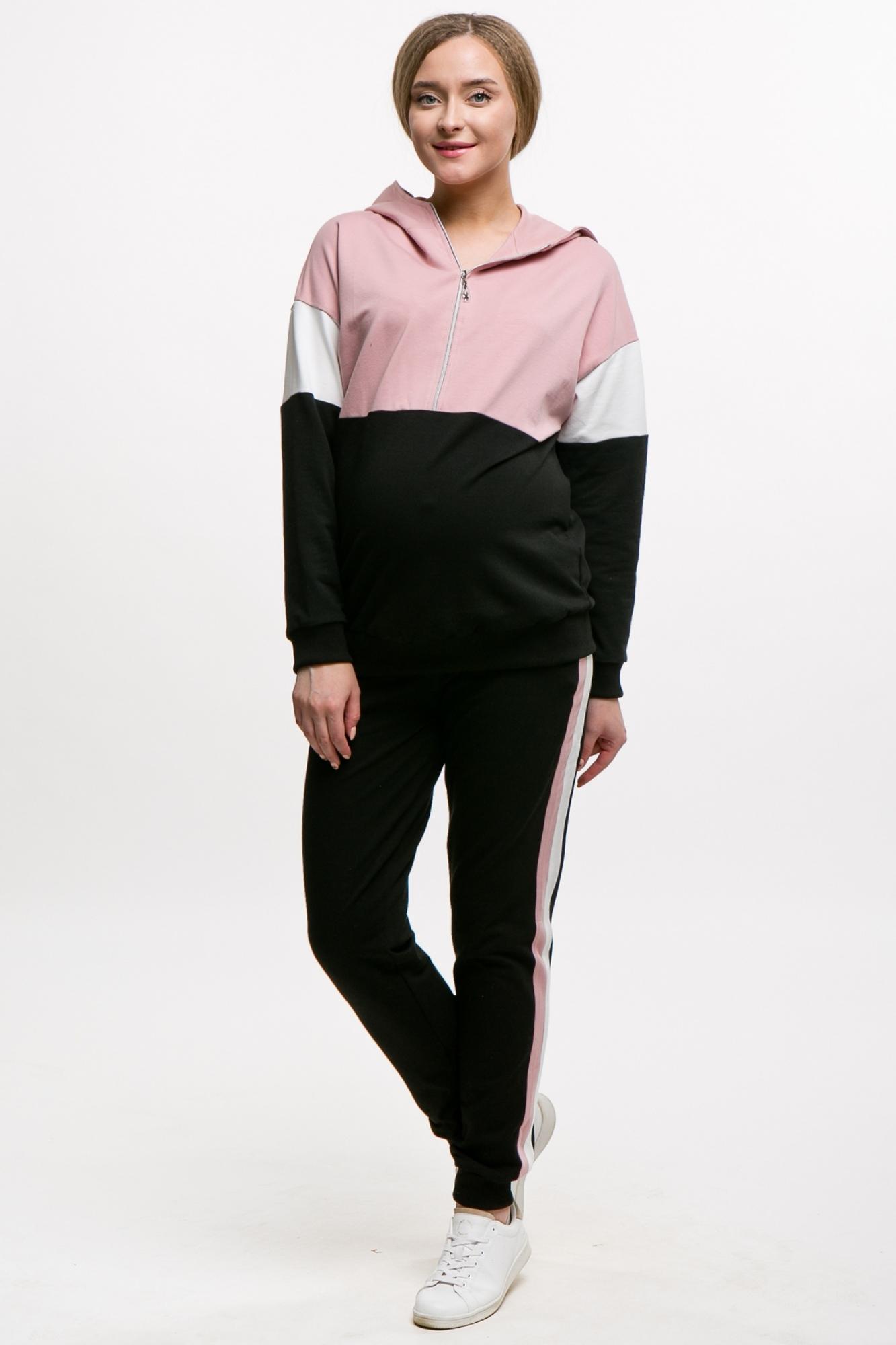 Спортивный костюм для беременных и кормящих 11609 пудра-черный