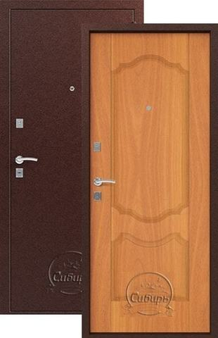 Дверь входная Сибирь S-1/1, 2 замка, 1 мм  металл, (медь+миланский орех)