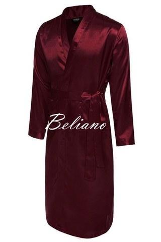 Шелковый халат мужской длинный или короткий из натурального шелка. Цвета бордо