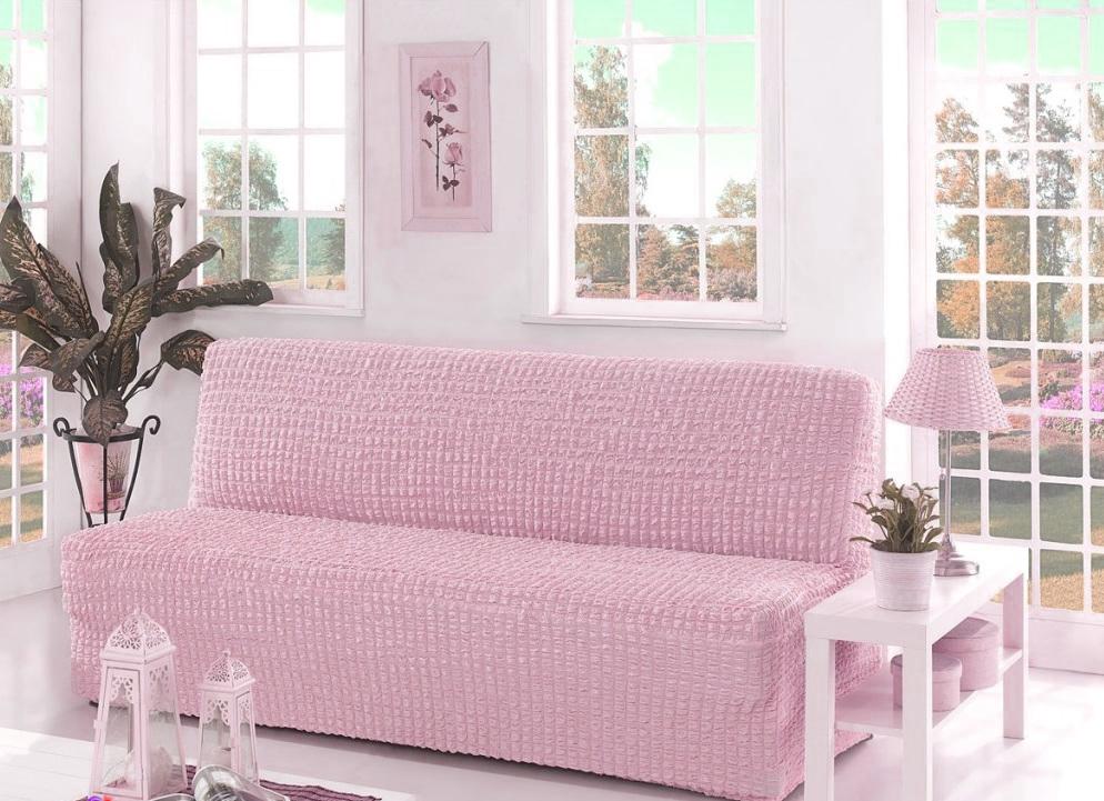 Чехол на диван без подлокотников, розовый
