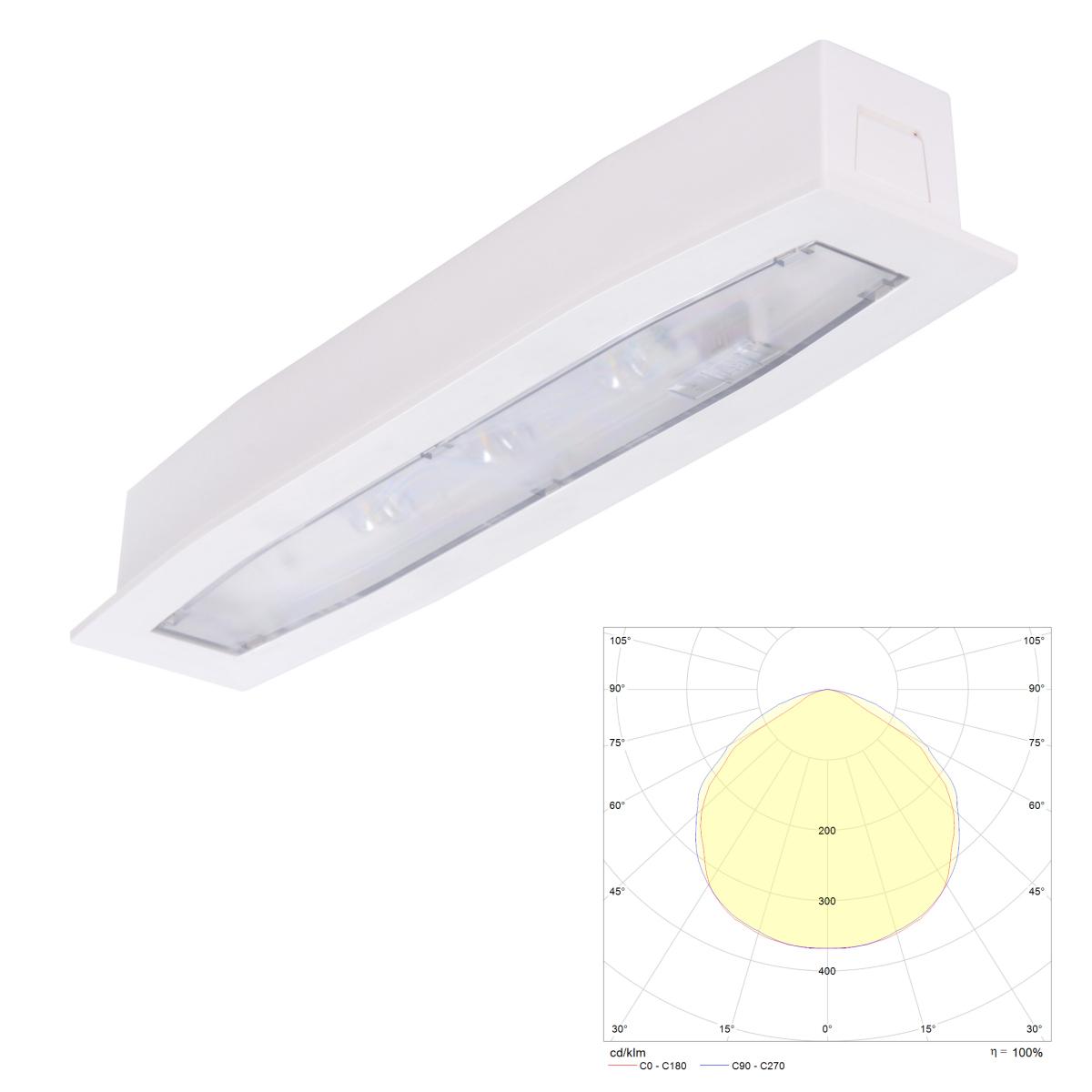 Встраиваемый светодиодный аварийный светильник Suprema LED SO PT IP54 Intelight – внешний вид
