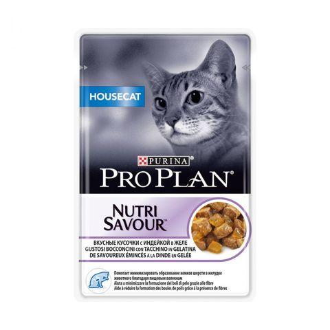 Pro Plan пауч для домашних кошек кусочки с индейкой в желе 85г