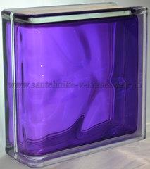 Торцевой стеклоблок фиолетовый окрашенный изнутри Vitrablok 19x19x8