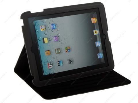 Чехол - книжка для iPad 3/ 4 замша (черный) магнитный держатель!