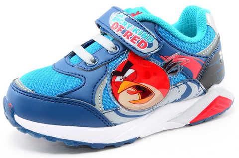 Светящиеся кроссовки для мальчиков Энгри Бердс (Angry Birds) на липучках, цвет синий, мигает картинка сбоку. Изображение 1 из 13.