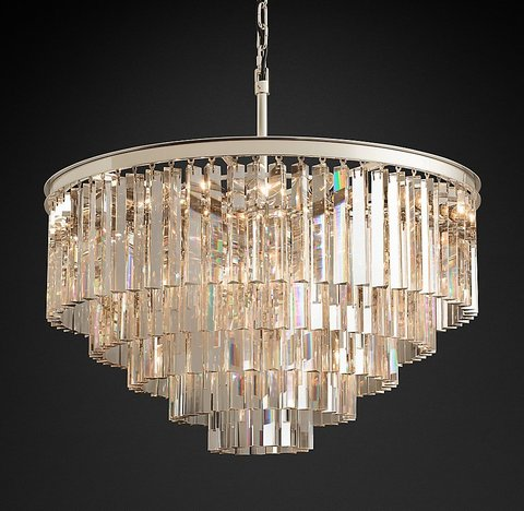 Подвесной светильник копия 1920s Odeon Clear Glass Fringe 5-Tier Chandelier by Restoration Hardware