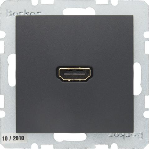 Розетка HDMI. Цвет Антрацит. Berker (Беркер). S.1 / B.3 / B.7. 3315421606
