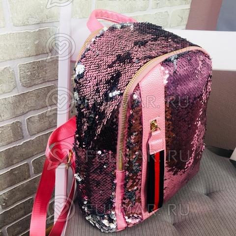 Рюкзак розовый с пайетками меняющий цвет Розовый-Серебристый с молнией LOLA