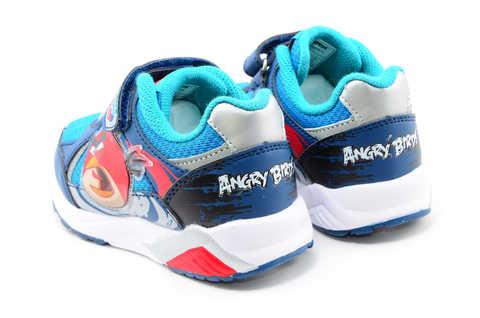 Светящиеся кроссовки для мальчиков Энгри Бердс (Angry Birds) на липучках, цвет синий, мигает картинка сбоку. Изображение 7 из 13.