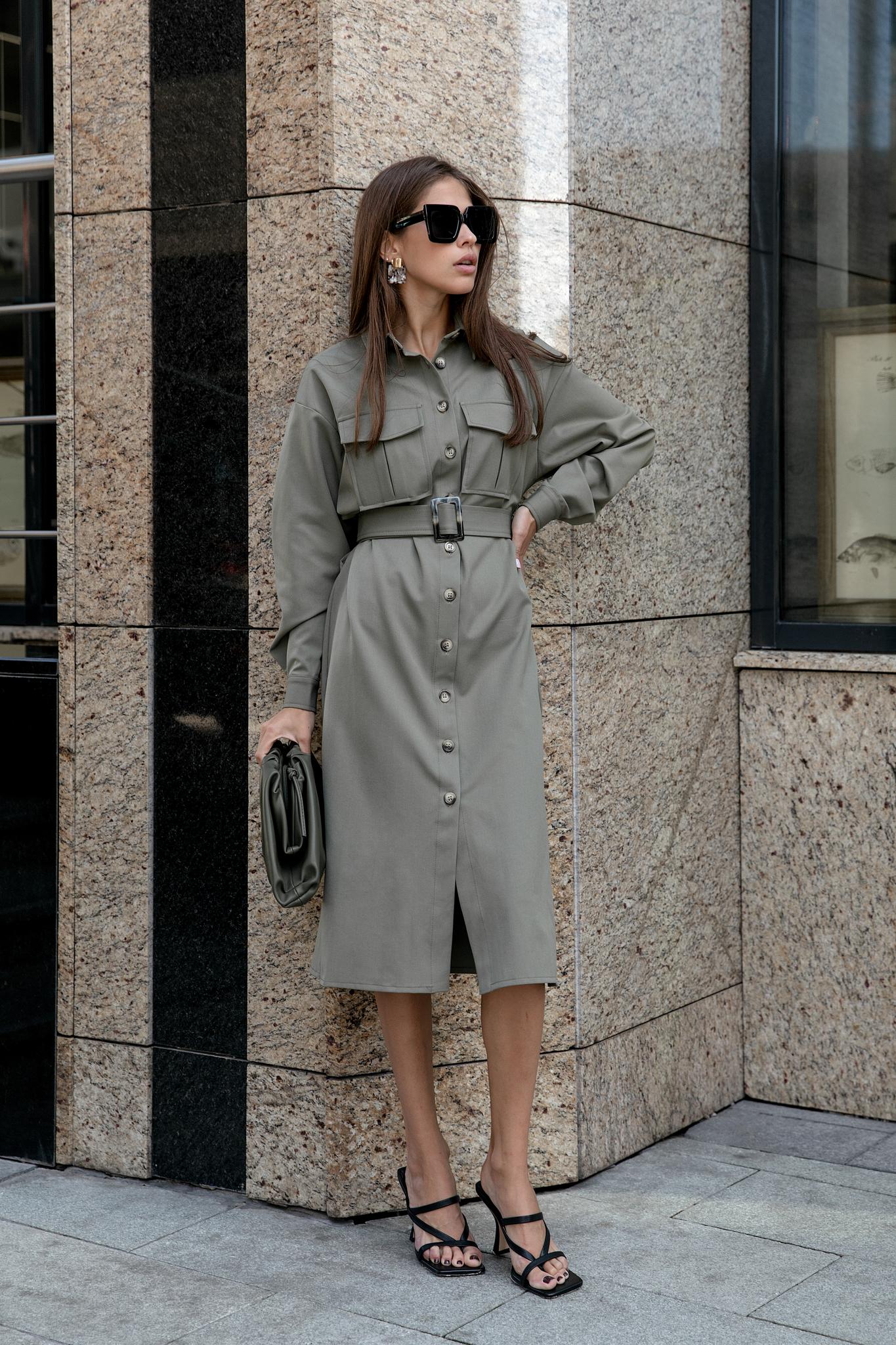 Платье-рубашка миди с поясом (хаки)