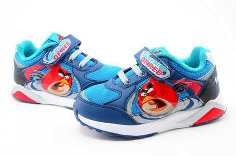 Светящиеся кроссовки для мальчиков Энгри Бердс (Angry Birds) на липучках, цвет синий, мигает картинка сбоку. Изображение 8 из 13.