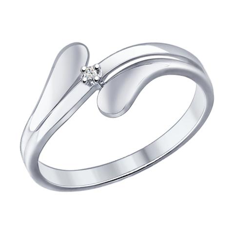 87010013- Кольцо из серебра с бриллиантом