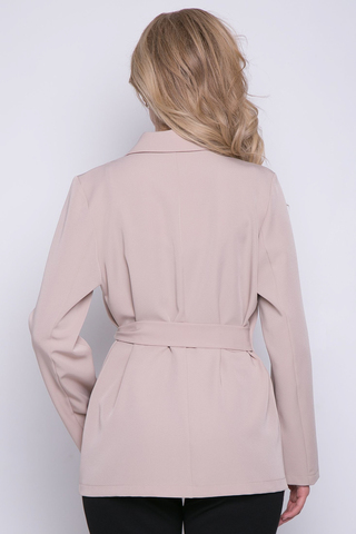 """<p>Стильный классический пиджак в модном исполнении. Застежка на """"пояс с пряжкой"""" - очень актуальная деталь в этом сезоне. Универсальная вещь в Вашем гардеробе. Можно сочетать с джинсами, брюками, а также лёгкими платьями - выглядит очень стильно. Пиджак без подклада.</p>"""