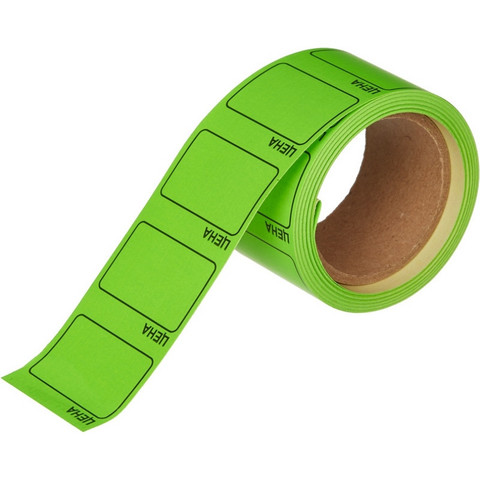 Этикет-лента Цена для ручного нанесения прямоугольная зеленая 35х25 мм (5 рулонов по 250 этикеток)