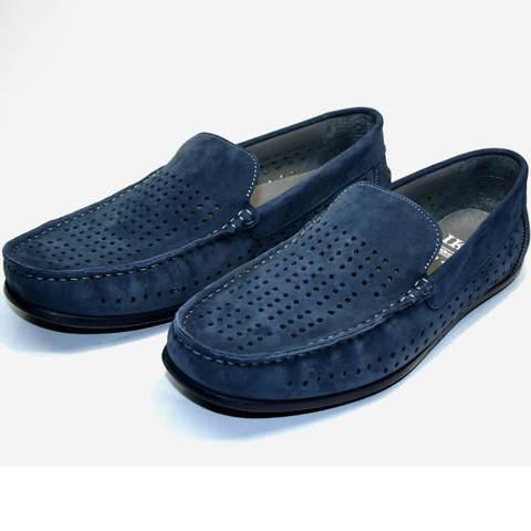 Летние туфли без каблука. Кожаные мокасины мужские голубые IKOC Blue