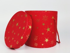 Подарочная коробка Красная круглая 16,5X17 см