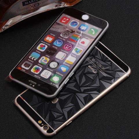 Защитное двухстороннее стекло Алмаз 2в1 для iPhone 6 Plus, 6s Plus (Черное)