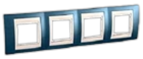 Рамка на 4 поста. Цвет Голубой лёд/бежевый. Schneider electric Unica Хамелеон. MGU6.008.554