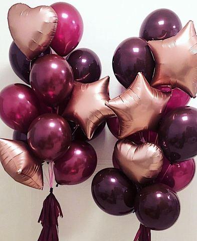 Фонтаны из шаров бургунди+розовое золото