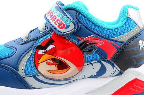 Светящиеся кроссовки для мальчиков Энгри Бердс (Angry Birds) на липучках, цвет синий, мигает картинка сбоку. Изображение 11 из 13.