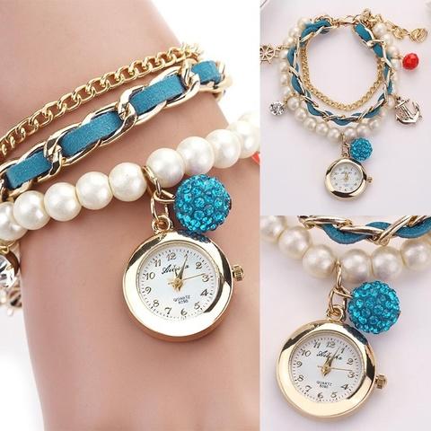 Часы-браслет с жемчугом (бирюзовый)