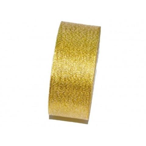 Лента парча с блеском (размер: 2,5см х 25 ярдов), цвет: желтое золото