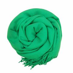 Кашемировый однотонный зелёный палантин (38)