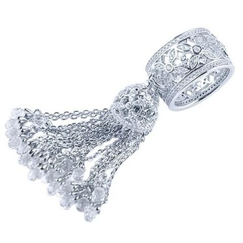 Кольцо из серебра с кисточкой из цепочек  4796