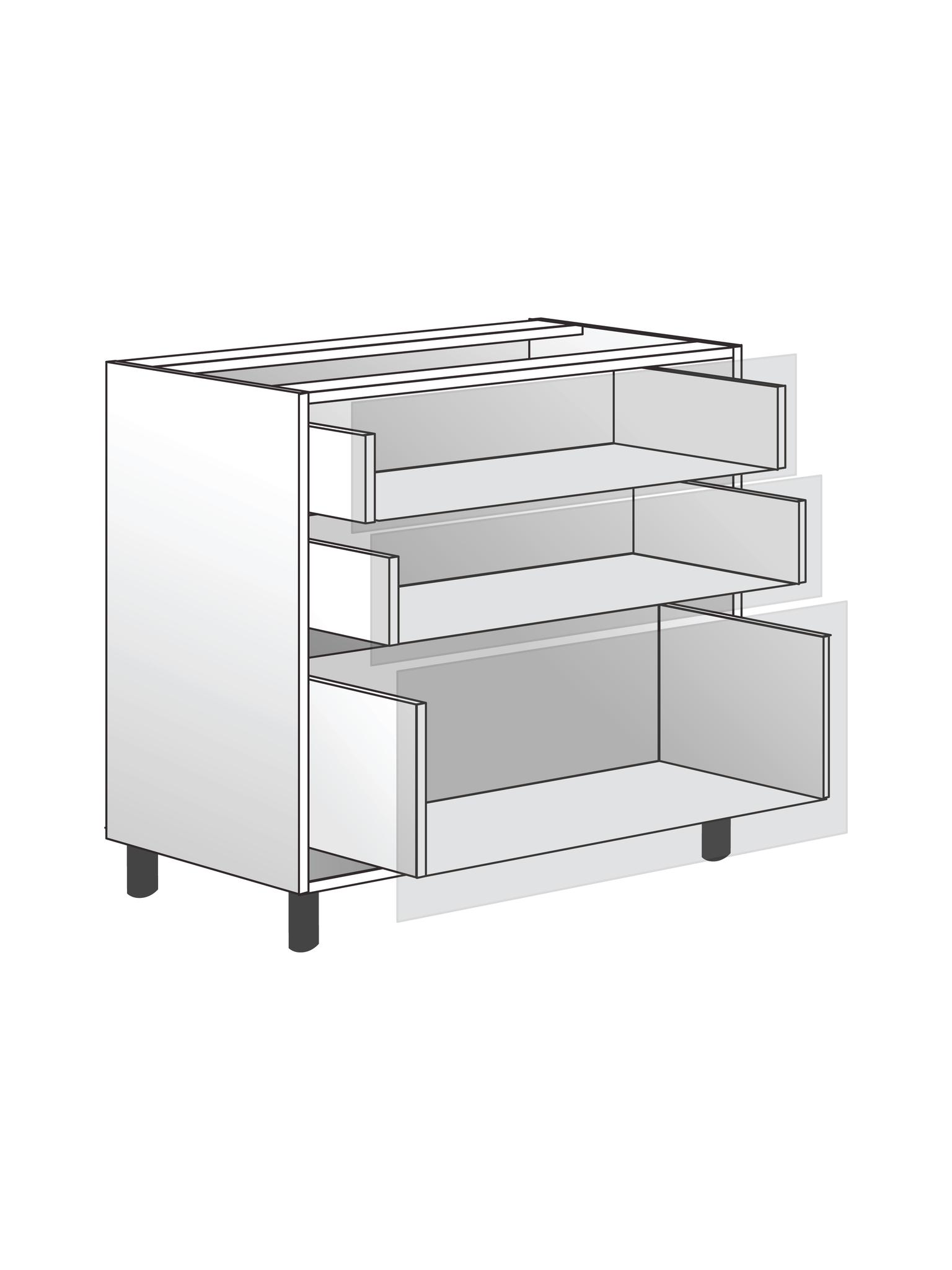 Напольный шкаф 3 ящиками, 720х800 мм